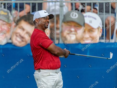 Lake Buena Vista, FL, U.S: Actor Alfonso Ribeiro reacts to his tee shot on 18 during 2nd round of Diamond Resorts Tournament of Champions Presented by Insurance Office of America held at Tranquilo Golf Course at Four Seasons Golf and Sports Club Orlando in Lake Buena Vista, Fla