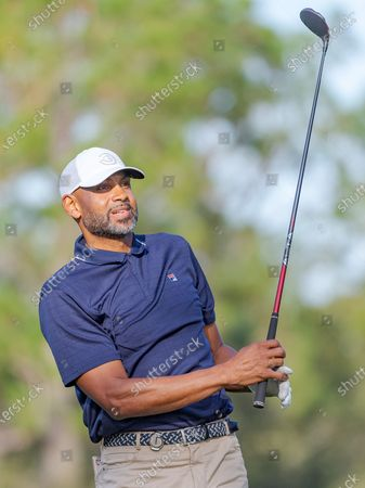 Lake Buena Vista, FL, U.S: Former NBA player Grant Hill on the 4th tee during 2nd round of Diamond Resorts Tournament of Champions Presented by Insurance Office of America held at Tranquilo Golf Course at Four Seasons Golf and Sports Club Orlando in Lake Buena Vista, Fla