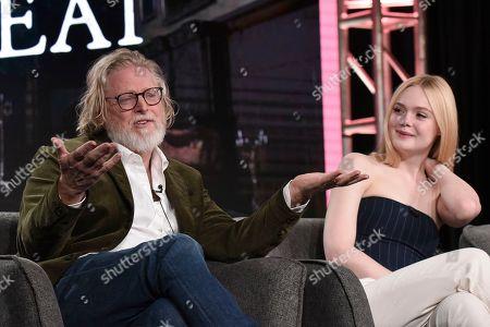 "Tony McNamara, Elle Fanning. Tony McNamara, left, and Elle Fanning participate in the Hulu ""The Great"" panel during the Winter 2020 Television Critics Association Press Tour,, in Pasadena, Calif"