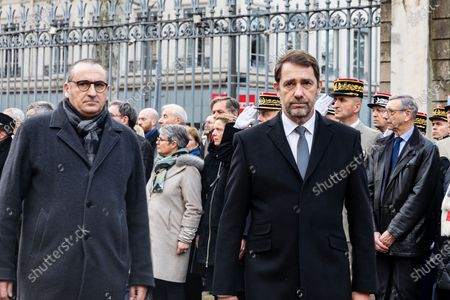 Stock Picture of French Junior Interior Minister Laurent Nunez (L) and French Interior Minister Christophe Castaner (C) arrive for an hommage ceremony in honour of Franck Labois