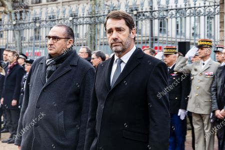 Stock Image of French Junior Interior Minister Laurent Nunez (L) and French Interior Minister Christophe Castaner (C) arrive for an hommage ceremony in honour of Franck Labois