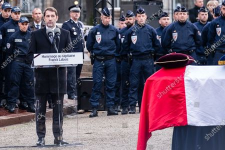 French Interior Minister Christophe Castaner speach during an hommage ceremony in honour of Franck Labois