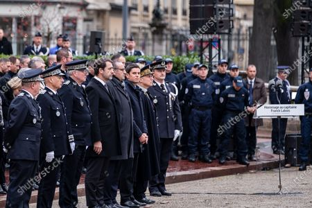 French Interior Minister Christophe Castaner during an hommage ceremony in honour of Franck Labois