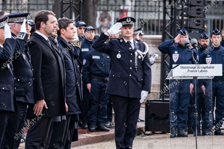 Stock Photo of French Interior Minister Christophe Castaner during an hommage ceremony in honour of Franck Labois