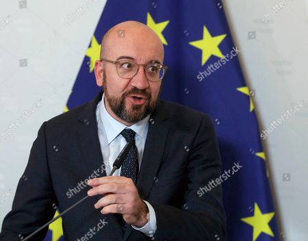 President of the European Council Charles Michel addresses the media during a joint press conference with Austria's Chancellor Sebastian Kurz after a meeting at the federal chancellery in Vienna, Austria