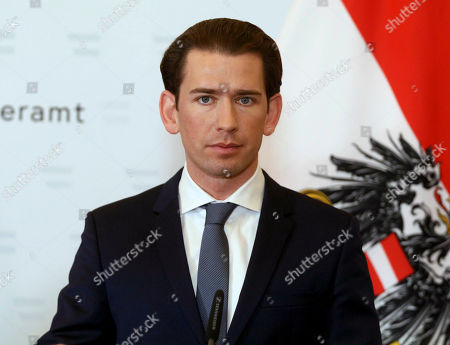 Austria's Chancellor Sebastian Kurz addresses the media during a joint press conference with President of the European Council Charles Michel after a meeting at the federal chancellery in Vienna, Austria