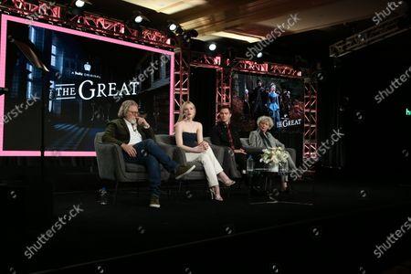 Stock Photo of Tony McNamara, Elle Fanning, Nicholas Hoult and Marian MacGowan