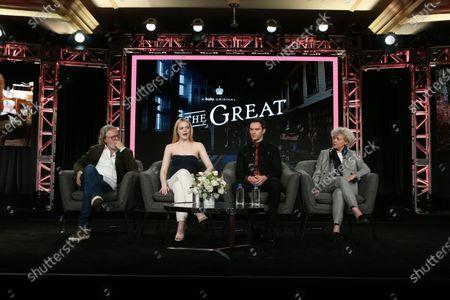 Stock Picture of Tony McNamara, Elle Fanning, Nicholas Hoult and Marian MacGowan