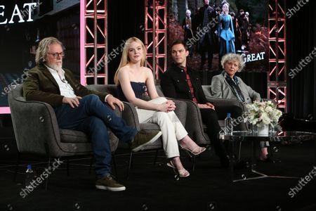 Stock Image of Tony McNamara, Elle Fanning, Nicholas Hoult and Marian MacGowan