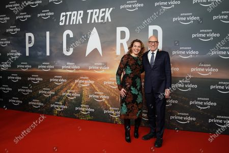 Sir Patrick Stewart (R) and his wife Sunny Ozell pose during the 'Star Trek: Picard' fan screening at the Zoo Palast cinema in Berlin, Germany, 17 January 2020.