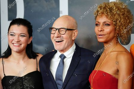 Isa Briones, British actor Sir Patrick Stewart and US actress Michelle Hurd pose during the 'Star Trek: Picard' fan screening at the Zoo Palast cinema in Berlin, Germany, 17 January 2020.