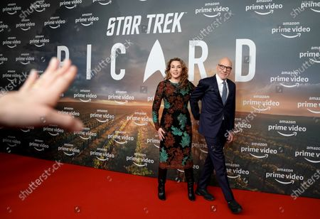 Sir Patrick Stewart (R) and his wife Sunny Ozell attend the 'Star Trek: Picard' fan screening at the Zoo Palast cinema in Berlin, Germany, 17 January 2020.