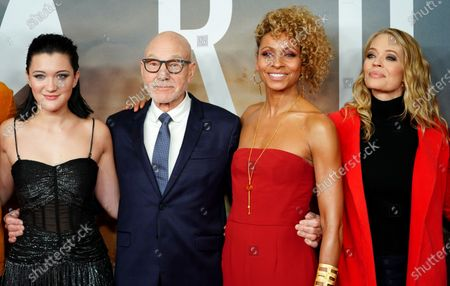Isa Briones, British actor Sir Patrick Stewart, US actress Michelle Hurd and US actress Jeri Ryan pose during the 'Star Trek: Picard' fan screening at the Zoo Palast cinema in Berlin, Germany, 17 January 2020.