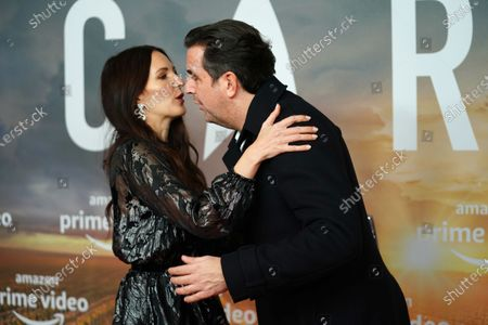 Stock Picture of Johanna Klum (L) and German comedian and actor Bastian Pastewka hug during the 'Star Trek: Picard' fan screening at the Zoo Palast cinema in Berlin, Germany, 17 January 2020.