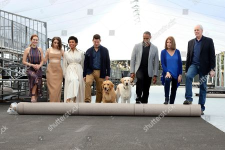 Elizabeth McLaughlin, Joey King, Logan Browning, Todd Milliner, Jason Winston George, Kathy Connell, Daryl Anderson. Elizabeth McLaughlin, from left, Joey King, Logan Browning, Todd Milliner, Jason Winston George, Kathy Connell and Daryl Anderson roll out the carpet during the Red Carpet Roll Out ceremony of the 26th Annual SAG Awards at the Shrine Auditorium and Expo Hall, in Los Angeles