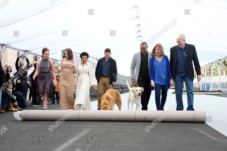 Elizabeth McLaughlin, Joey King, Logan Browning, Todd Milliner, Jason George, Kathy Connell, Daryl Anderson. Elizabeth McLaughlin, from left, Joey King, Logan Browning, Todd Milliner, Jason George, Kathy Connell and Daryl Anderson roll out the carpet during the Red Carpet Roll Out ceremony of the 26th Annual SAG Awards at the Shrine Auditorium and Expo Hall, in Los Angeles