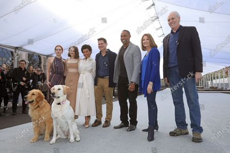 Elizabeth McLaughlin, Joey King, and Logan Browning, US producer Todd Milliner, US actor Jason Winston George, SAG Awards executive producer Kathy Connell and SAG Awards committee vice chair Daryl Anderson pose after rolling out the 'red carpet' with the held of famed Subaru commercial dogs Luther (L) and Ember during Red Carpet Roll Out event for the 26th Annual Screen Actors Awards at the Shrine Auditorium in Los Angeles, California, USA, 17 January 2020. The 26th SAG Awards ceremony will be held on 19 January 2020.