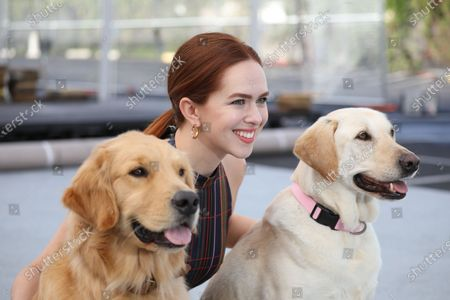 Elizabeth McLaughlin poses with Subaru commercial dogs Luther (L) and Ember on the 'red carpet' during Red Carpet Roll Out event for the 26th Annual Screen Actors Awards at the Shrine Auditorium in Los Angeles, California, USA, 17 January 2020. The 26th SAG Awards ceremony will be held on 19 January 2020.