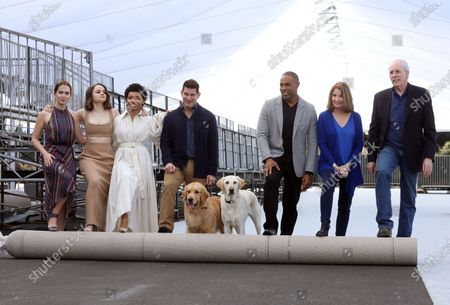 Elizabeth McLaughlin, Joey King, and Logan Browning, US producer Todd Milliner, US actor Jason Winston George, SAG Awards executive producer Kathy Connell and SAG Awards committee vice chair Daryl Anderson roll out the 'red carpet' with the held of famed Subaru commercial dogs Luther (L) and Ember during Red Carpet Roll Out event for the 26th Annual Screen Actors Awards at the Shrine Auditorium in Los Angeles, California, USA, 17 January 2020. The 26th SAG Awards ceremony will be held on 19 January 2020.