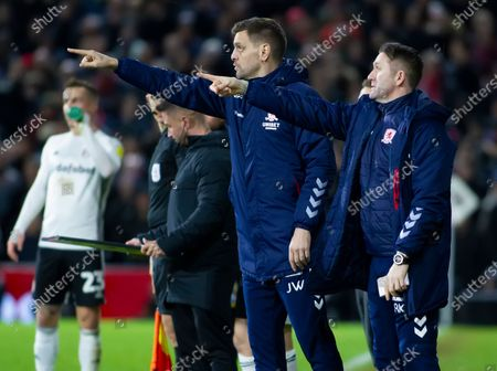 Middlesborough Manager Jonathan Woodgate and assistant Robbie Keane give instructions from the technical area