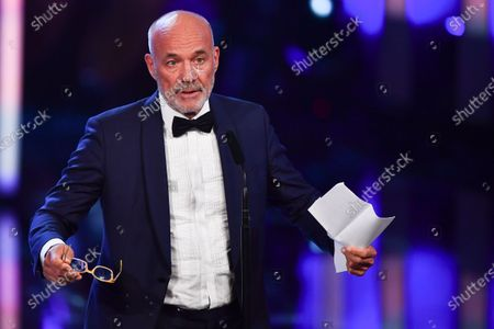 Heiner Lauterbach reacts after receiving the lifetime achievement award during the Bavarian Film Awards (Bayerischer Filmpreis) ceremony at the Prinzregenten Theater in Munich, Germany, 17 January 2020.