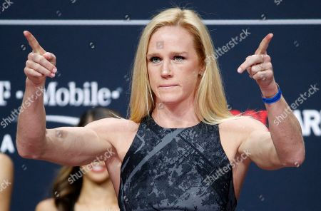 Stock Photo of Holly Holm poses during a ceremonial weigh-in for the UFC 246 mixed martial arts bout, in Las Vegas. Holm is scheduled to fight Raquel Pennington in a women's bantamweight bout Saturday in Las Vegas