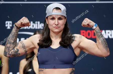 Raquel Pennington poses during a ceremonial weigh-in for a UFC 246 bantamweight mixed martial arts bout, in Las Vegas. Pennington is scheduled to fight Holly Holm in a bantamweight bout Saturday