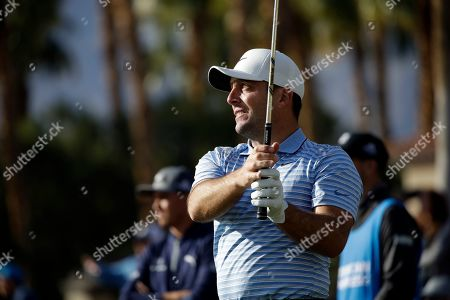 Francesco Molinari hits the 12th tee during the second round of The American Express golf tournament on the Nicklaus Tournament Course at PGA West, in La Quinta, Calif