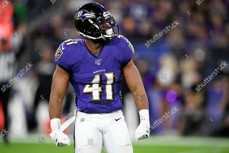 Baltimore Ravens defensive back Anthony Levine (41) stands on the field during the first half an NFL divisional playoff football game against the Tennessee Titans, in Baltimore