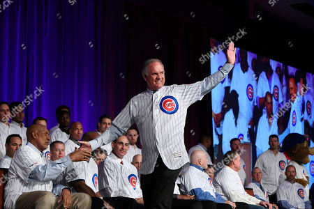 Stock Photo of Chicago Cubs Hall of Famer Ryne Sandberg, center, waves to the crowd while shaking the hand of fellow Cubs Hall of Famer Fergie Jenkins, left, during the baseball team's convention, in Chicago