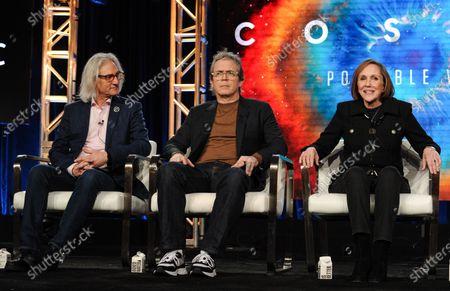 Stock Image of Jeff Okun, Brannon Braga and Ann Druyan