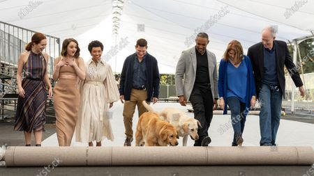 Elizabeth McLaughlin, Joey King, Logan Browning, Todd Milliner, Luther and Amber, Jason Winston George, Kathy Connell, Daryl Anderson with Luther and Amber on the Silver Carpet rollout