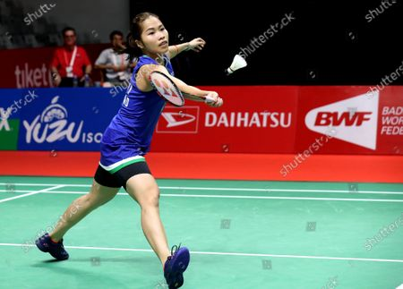 Ratchanok Intanon of Thailand in action during her women's single Semi Final match against Wang Zhi Yi of China at the Daihatsu Indonesia Masters 2020 Badminton Tournament in Jakarta, Indonesia, 18 January 2020.