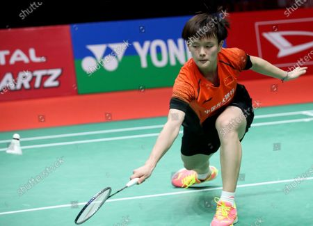 Wang Zhi Yi of China in action during her women's single Semi Final match against Ratchanok Intanon of Thailand at the Daihatsu Indonesia Masters 2020 Badminton Tournament in Jakarta, Indonesia, 18 January 2020.