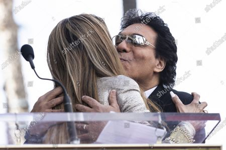 Iranian-Armenian born singer Andy Madadian (R) kisses US Singer La Toya Jackson after she delivered a speech as he is honored with the 2,684th star on the Hollywood Walk of Fame in Hollywood, California, USA, 17 January 2020. The star was dedicated in the category of Recording.