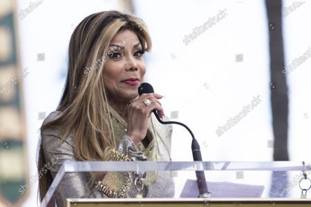 La Toya Jackson delivers a speech as Iranian-Armenian born singer Andy Madadian (unseen) is honored with the 2,684th star on the Hollywood Walk of Fame in Hollywood, California, USA, 17 January 2020. The star was dedicated in the category of Recording.