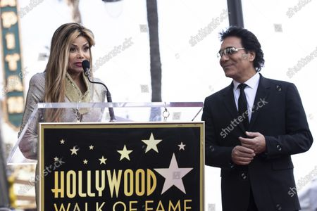 La Toya Jackson (L) delivers a speech as Iranian-Armenian born singer Andy Madadian is honored with the 2,684th star on the Hollywood Walk of Fame in Hollywood, California, USA, 17 January 2020. The star was dedicated in the category of Recording.