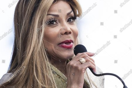 Stock Picture of La Toya Jackson delivers a speech as Iranian-Armenian born singer Andy Madadian (unseen) is honored with the 2,684th star on the Hollywood Walk of Fame in Hollywood, California, USA, 17 January 2020. The star was dedicated in the category of Recording.