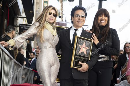 Iranian-Armenian born singer Andy Madadian (C) poses with US singer La Toya Jackson (L) as he is honored with the 2,684th star on the Hollywood Walk of Fame in Hollywood, California, USA, 17 January 2020. The star was dedicated in the category of Recording.
