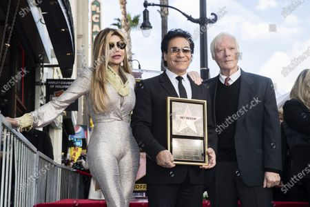 Iranian-Armenian born singer Andy Madadian (C) poses with US singer La Toya Jackson (L) and English born US executive and producer Miles Copeland (R) as he is honored with the 2,684th star on the Hollywood Walk of Fame in Hollywood, California, USA, 17 January 2020. The star was dedicated in the category of Recording.