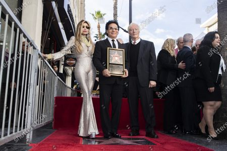 Stock Image of Iranian-Armenian born singer Andy Madadian (C) poses with US singer La Toya Jackson (L) and English born US executive and producer Miles Copeland (R) as he is honored with the 2,684th star on the Hollywood Walk of Fame in Hollywood, California, USA, 17 January 2020. The star was dedicated in the category of Recording.