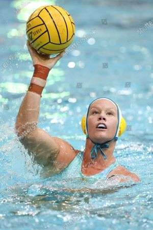 Rowie Webster of Australia in action during the Water Polo Test Match between Australia and the USA at the Brisbane Aquatic Centre in Brisbane, Queensland, Australia, 18 January 2020. AUSTRALIA AND NEW ZEALAND OUT
