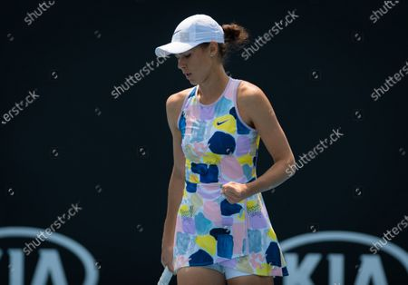 Natalia Vikhlyantseva of Russia in action during the final qualifications round at the 2020 Australian Open Grand Slam tennis tournament