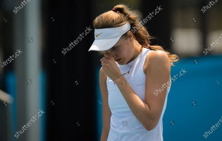 Antonia Lottner of Germany in action during the final qualifications round at the 2020 Australian Open Grand Slam tennis tournament