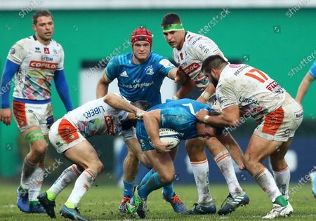 Benetton Rugby vs Leinster. Sean Cronin of Leinster tackled by Tito Tebaldi and Nicola Quaglio of Benetton
