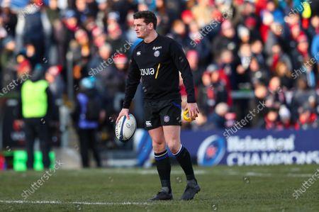 Ulster vs Bath Rugby. Bath's Freddie Burns during the warm-up