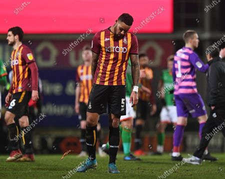 Ben Richards-Everton of Bradford City is dejected after the final whistle