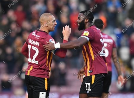 Stock Picture of James Vaughan of Bradford City celebrates scoring their second goal with team mate Hope Akpan of Bradford City