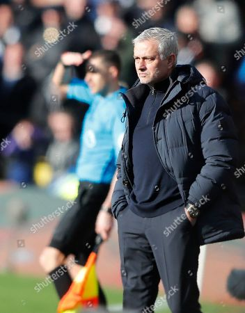 Stock Picture of Tottenham's manager Jose Mourinho stands during the English Premier League soccer match between Watford and Tottenham Hotspur at Vicarage Road, Watford, England