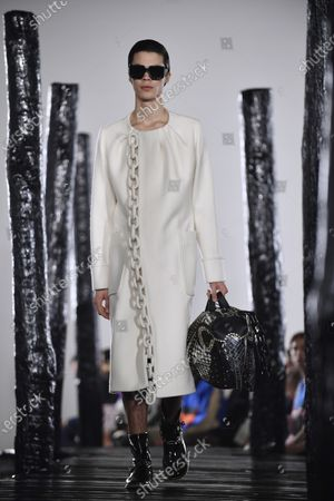 A model presents a creation of the Fall/ Winter 2020/21 Ready to Wear collection by British designer Jonathan Anderson for Loewe fashion house during the Paris Fashion Week, in Paris, France, 18 January 2020. The presentation of the men's collections runs from 14 to 19 January.